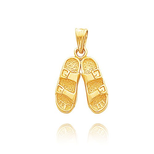 14K Yellow Gold Solid Sandals Pendant (Gold Sandal Italian Charm)