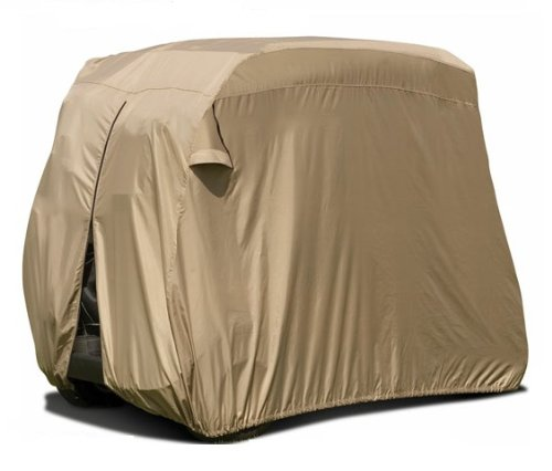 Vehicore-Deluxe-Tan-2-Passenger-Golf-Cart-Storage-Cover-with-Lock-Kit