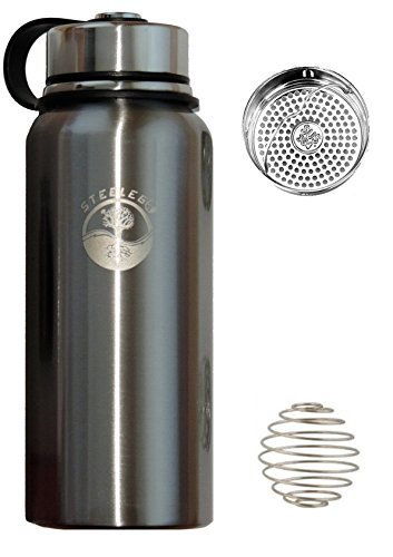 Stainless Steel Water Bottle STEELEGO–32oz Insulated Double Wall Flask-Keeps Cold and Hot-Wide Mouth-Durable-Ecological-Paint&PBA free-Steel Leak &Sweat Proof Lid-Thermos-Tea Infuser-shaker ball by STEELEGO