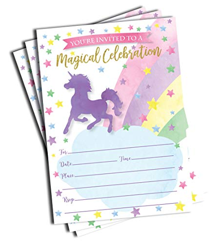 50 Unicorn Invitations and Envelopes (Large Size 5x7)