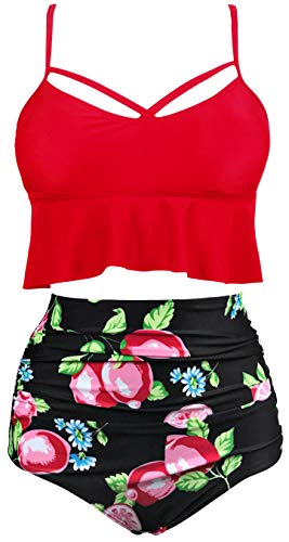 Gabrielle-Aug Women's Retro Two Pieces High Waisted Ruffle Bikini Set Flounce Falbala Swimwear Bathing Suit (Red 2, 18) ()