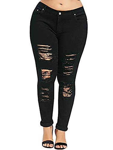 YONYWA Plus Size Womens Jeans Skinny High Waisted Ripped Distressed Stretch Pants Boyfriend Trousers (XX-Large, Black)