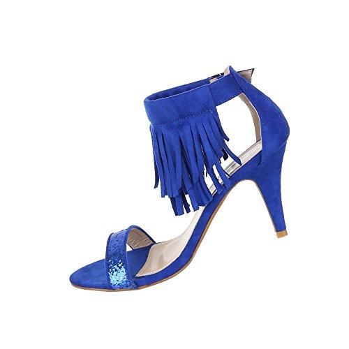 Damen Schuhe Pumps Glitter Besetzte Blau