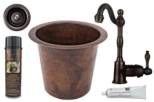 Hammered Copper Bathroom Prep Sink with Faucet and Accessories ()