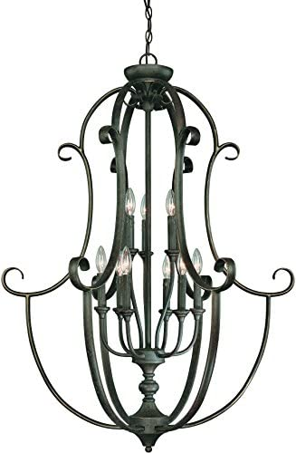 Craftmade 24239-MB Barrett Place Scrollwork Foyer Lighting, 9-Light, 540 Watts, Mocha Bronze 32 W x 44 H