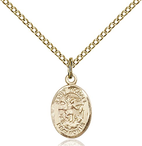 Medal Angel 14k (14K Gold Filled Saint Michael the Archangel Petite Charm Medal, 1/2 Inch)