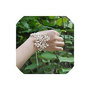 alerghrg Fresh Pearls Beaded Wedding Wrist Flowers Bridesmaid Marriage Crystal Corsages Wristband Flowers Bridal Bracelet 113