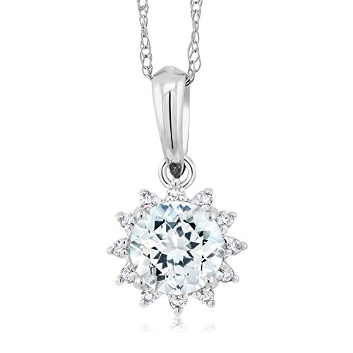 Gem Stone King 18K White Gold Sky Blue Aquamarine and Diamond Pendant Necklace 0.40 Ctw Round With 18 Inch Chain