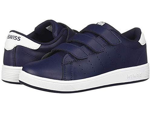 K-Swiss Unisex Clean Court 3-Strap Sneaker Navy/White 3 M US Little Kid (Kswiss Kids Shoes Casual)