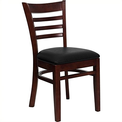 Beau Flash Furniture HERCULES Series Ladder Back Mahogany Wood Restaurant Chair    Black Vinyl Seat