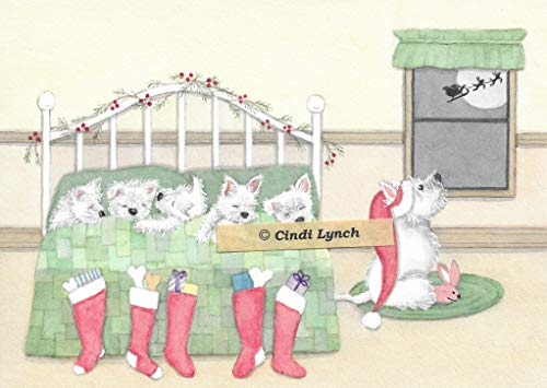 (12 Christmas cards: West Highland Terrier (westie) family tucked in for Santa / Lynch folk art)
