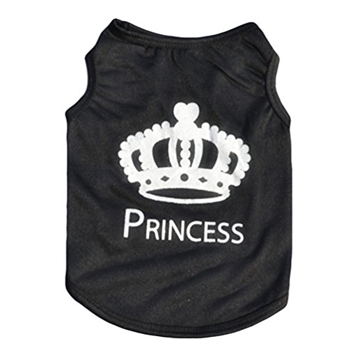 Floralby Pet Shirts for Small Dogs, Boss/Princess Crown Printed Puppy Dog T-shirt Vest Sleeveless Top Apparel (Princess Dog Tee)
