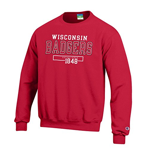 Wisconsin Badgers Fleece - Champion NCAA Men's Long Sleeve Eco Powerblend Sweatshirt Unisex Officially Licensed Crewneck Fleece Wisconsin Badgers Small