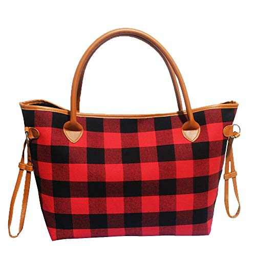 Buffalo Plaid Tote Bag Leopard Print Shoulder Bags with Polyester Lining (Red Buffalo Plaid)