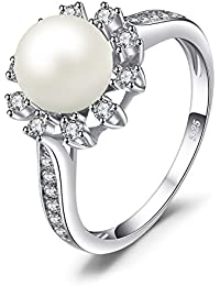 White 8mm AAA Quality Freshwater Cultured Pearl Ring Snowflake Style 925 Sterling Silver