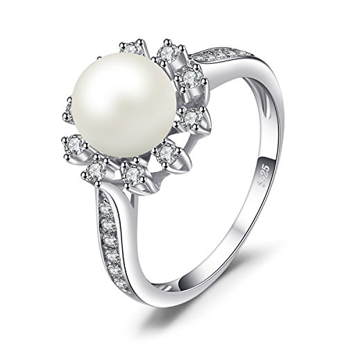 Pearl Stamped Silver Sterling Ring - JewelryPalace Snowflake 7mm Freshwater Cultured Pearl Halo Enagement Ring 925 Sterling Silver Size 6