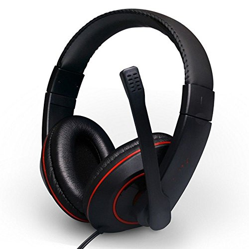XHKCYOEJ Headset Stereo Headset/Headphones/Headphones/Computer/Games/Ear Wheat,Black Red: Amazon.co.uk: Electronics