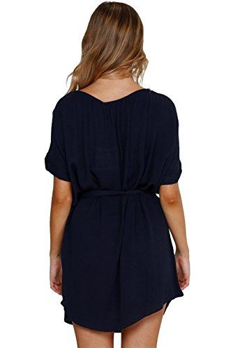 Corte Delle Blu Maniche Donne Chiffon Casuale Vestito Marina Marino Unbranded Rullo Chic Allentato wTFn0Bq