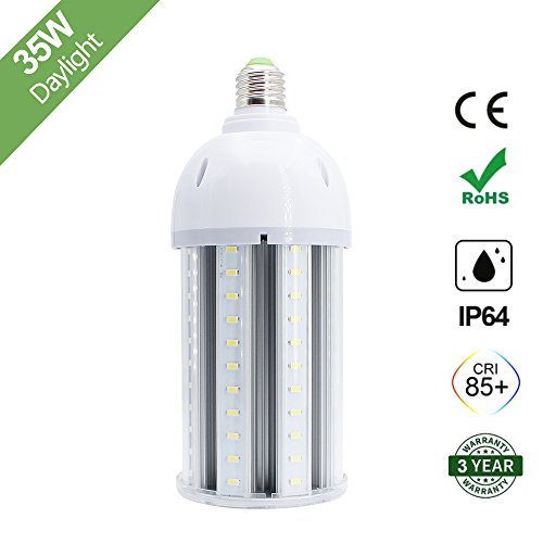 - 35W LED Corn Light Bulb, E26 Medium Screw Base, 6500K Daylight White 3600 Lumens, 200 Watt Equivalent Metal Halide Replacement for Indoor Outdoor Large Area Lighting, HID, CFL, HPS