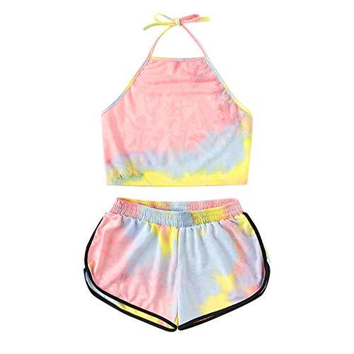 2 Piece Outfits Women Summer Tie Dye Printed Sleeveless Crop Tank Tops + Elastic Waist Mini Shorts Pants Casual Sets (Pink, M)