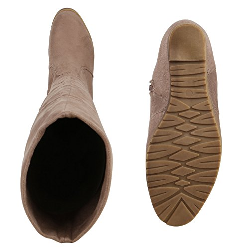 Stiefelparadies Gefütterte Damen Overknees Wedges Stiefel Schleifen Keil Absatz Flandell Khaki Camiri