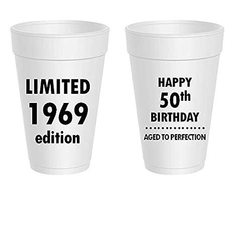Amazon.com: Happy 50th Cumpleaños tazas de poliestireno ...