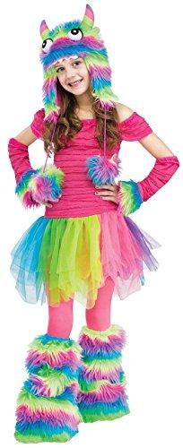 Fun World Rockin ' Rainbow Girls Monster Costume, Pink  / Yellow  / Sky Blue, Small