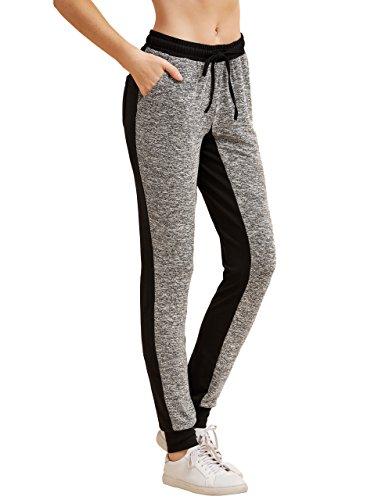 (SweatyRocks Women Pants Colorblock Casual Tie Waist Yoga Jogger Pants Grey L)
