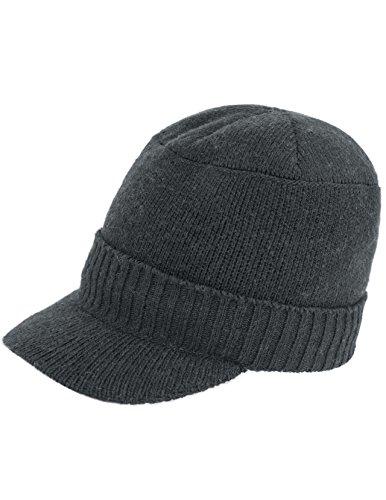 Dahlia Men's Wool Blend Visor Beanie Cap, Velour Fleece Lined, Gray -