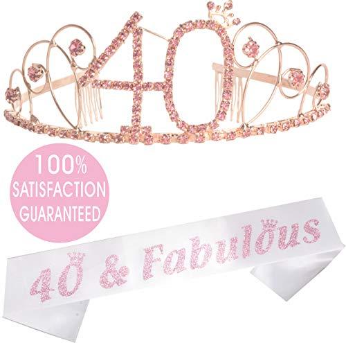 40th Birthday Tiara and Sash| Happy 40th Birthday Party Supplies| 40 & Fabulous Black Glitter Satin Sash and Crystal Tiara Birthday Crown for 40th Birthday Party Supplies and Decorations (Pink) ()