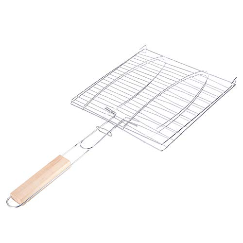 YUEBAOBEI Portable Stainless Steel Grilled Fish Clip,Vegetables, Steak,Shrimp, Chops and Many Other Food BBQ Tool Wooden Handle