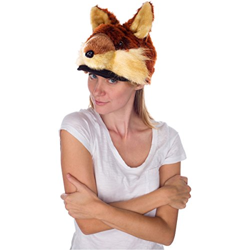 Rittle Furry Red Fox Animal Hat, Realistic Plush Costume Headwear - One Size -