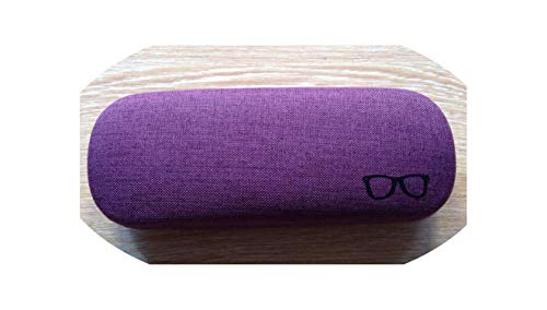 Glass Frame Pattern Metal Glasses Case Kit Holder Container Linen Reading Eyeglasses Box Women,Purple ()