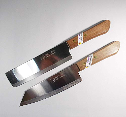 (Chef's Knife Cook Utility Knives Set 2 KIWI Brand 171,172 Cutlery Steak Wood Handle Kitchen Tool Sharp Blade 6.5