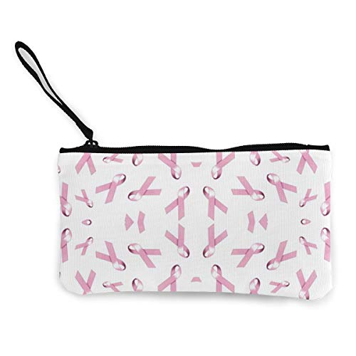 Pink Ribbons for Breast Cancer Womens Canvas Coin Purse Mini Change Wallet Pouch-Card Holder Phone Wallet Storage Bag,Pencil Pen Case