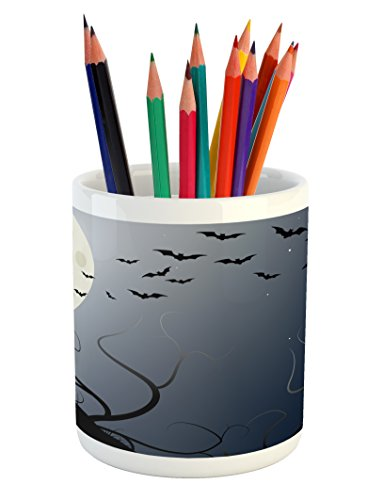Lunarable Halloween Pencil Pen Holder, Beautiful Witch in Twilight on High Hill at Hazy Night Magic Tale, Printed Ceramic Pencil Pen Holder for Desk Office Accessory, Night Blue Coconut -
