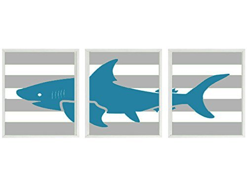 Shark Wall Art, Boy Room Prints, Baby Boy Nursery, Toddler Boy Room, Shark Prints, Shark Nursery, Stripe, Kids Bathroom Wall Art
