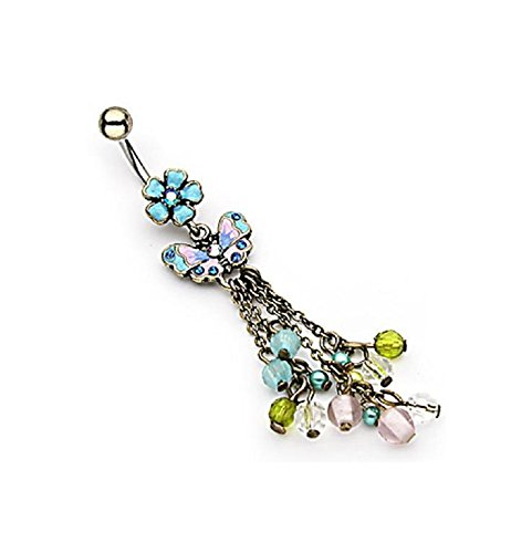 """Vintage Butterfly and Flower with Beads Dangle Navel Ring 14g 3/8"""""""