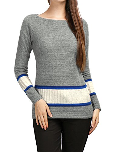 Cuello Acanalado Azul Allegra Mujeres 100 Punto Barco K Suéter De Cashmere Jersey Contrastee r87zwrRx