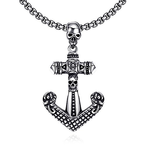[SDLM Mens Modern Fashion Skull Anchor Stainless Steel Pendant Necklace Evening Party] (Titanic Costumes Ideas)