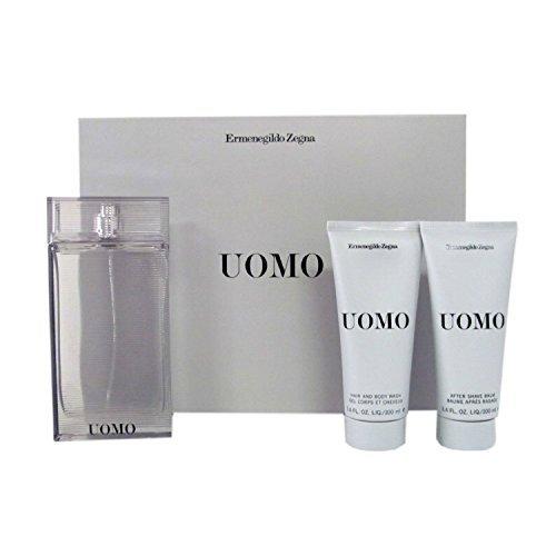 Ermenegildo Zegna Uomo 3 Piece Gift Set for Men (Eau de Toilette Spray Plus Hair Body Wash Plus After -