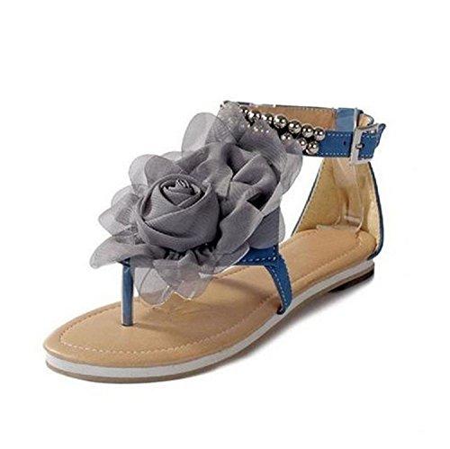 Minetom Damenschuhe Böhmen Stil Blume Schuhe Sommer Sandalen Sandaletten Glitzer Partei Riemchen Zehentrenner Rom Flip Flops ( Beige EU 36 ) JkKdS