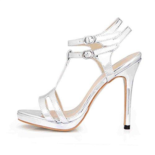 Shoes Silver Summer Peep Best Rubber Leather Pumps Heels 4U Women's Basic Slingbacks Wedding 12CM Patent Sole toe Sandals High AF1UTw