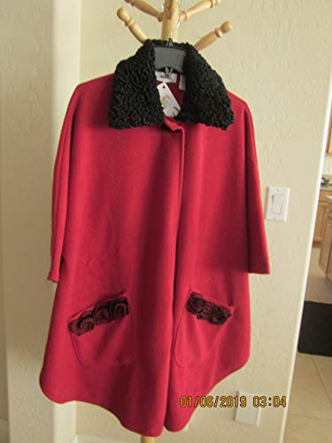(Red fleece Poncho Cape with REAL GENUINE black CURLY PERSIAN LAMB ASTRAKHAN FUR COLLAR)