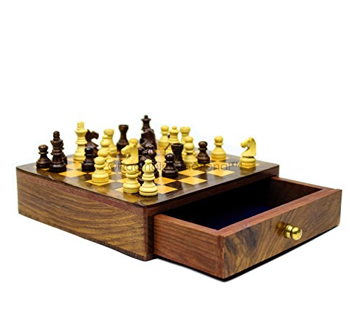 Chess Board With Drawer | Board Games | Nagina International (Board Chess For Sale Tables)