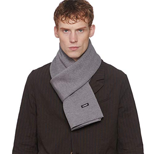 CACUSS Men's Cashmere Feel Winter Wool Scarf Super Soft Warm Knitted Scarves with Gift Box (Gray)