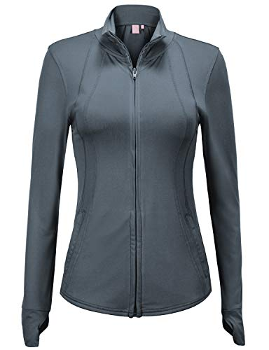 Regna X Women's Full Zip Front Running Workout Stretchy Track Jacket Grey -