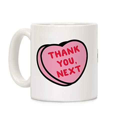 LookHUMAN Thank You Next Pink Candy Heart White 11 Ounce Ceramic Coffee Mug