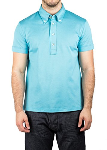 Prada Men's Jersey Sport Pique Cotton Slim Fit Polo Shirt Turquoise - Prada Polo