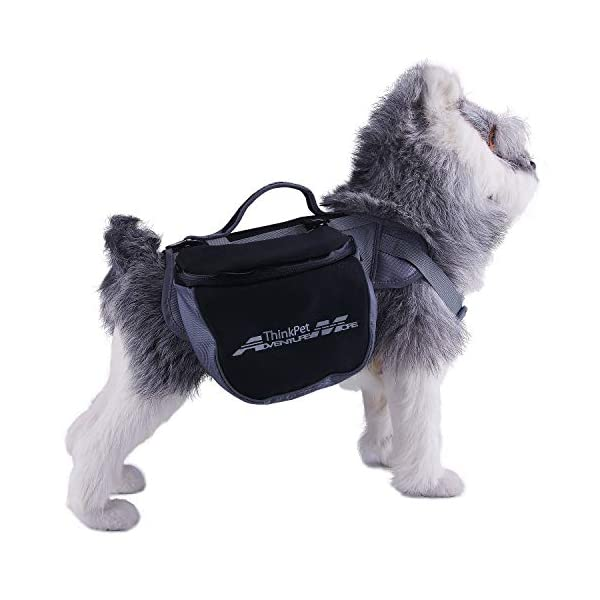 ThinkPet Outdoor Dog Backpack Reflective Saddle Bag - Dog Pack Double Bag for Hound Travel Rucksack for Medium Large Dogs 6